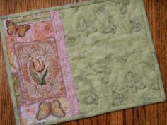 Butterfly Quilted Mug Rug Candle Mat in Shabby Chic by susiquilts, $9.00