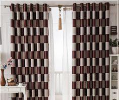 European Brief White Black Coffee Plaid Blackout/Sheer Window Curtains For…
