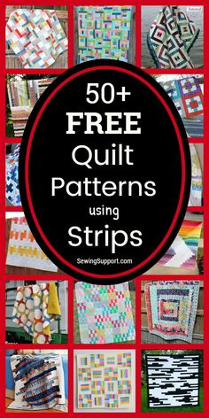 Quilt Patterns using Strips: 50+ free strip quilt patterns, tutorials, and diy sewing projects. Many designs great for use with 2.5 inch jelly roll fabric bundles. Many simple and easy enough for a beginner to sew. Ideas and instructions for how make a strip quilt. #Quilt #Patterns #Pattern #Free #Strip #JellyRoll