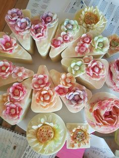 Watercolour soap flowers by ElizaJaneSoap.com