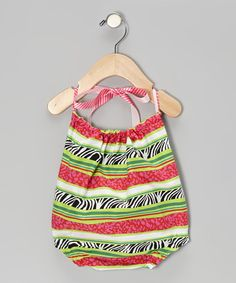 Take a look at this Pink & Green Zebra Stripe Ruffle Bubble Bodysuit - Infant by Made 2 Matche on #zulily today!