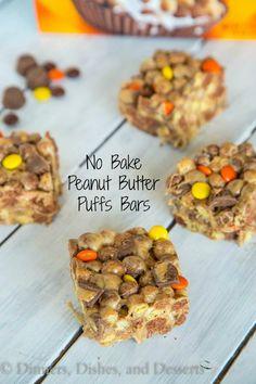 No Bake Peanut Butter Puffs Bars - Peanut butter, peanut butter candies, peanut butter cups, and peanut butter puff's cereal! Peanut Butter Dessert Recipes, Peanut Butter Candy, Homemade Peanut Butter, Cereal Treats, No Bake Treats, Cereal Bars, Puffs Cereal, Köstliche Desserts, Delicious Desserts