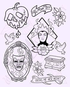 Tattoo Flash Sheet, Tattoo Flash Art, Flash Tattoos, 1 Tattoo, Tattoo Drawings, Tattoo Sketches, Snow White Tattoos, Queen Drawing, Snow White Evil Queen