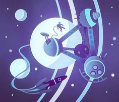 Somewhat old illustration of a space station... #space #station #rocket #astronaut #star #planet #ship #fly #cosmos #moon #galaxy #flat #vector #illustration #design #art #graphic #sky #universe #designarf #pirategraphic #illustree #thedesigntip #artspotted #Illustrationartists #picame #bestvector #Marko #Matovic #littlefox