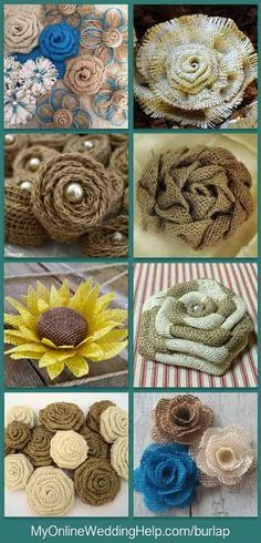 An alternative to DIY if you do not have time or know-how to do it yourself is to buy rustic burlap flowers. Here are some different styles. There are links to look at or purchase each on the web page.