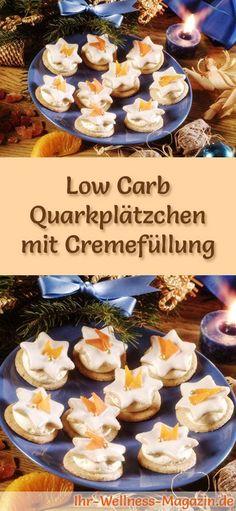 Low-Carb-Weihnachtsgebäck-Rezept für Quarkplätzchen mit Cremefüllung: Kohlenhydratarme, kalorienreduzierte Weihnachtskekse - ohne Getreidemehl und Zucker gebacken ... #lowcarb #backen #weihnachten