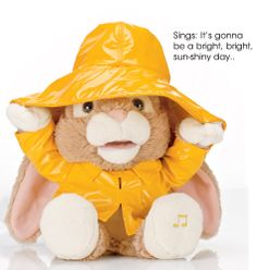 "Avon exclusive. Sure to make the whole family smile with his rendition of ""I Can See Clearly Now,"" this adorable 10"" H x 10"" W x 8"" D bunny wears a yellow slicker and moves his hat up and down as he sings. Uses 3 AA batteries (not included). Plush. Imported."
