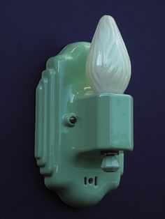 antique green vintage porcelain sconce light fixture (1) by VintageLights.com, via Flickr