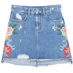 MANGO Embroidered Denim Skirt ($60) ❤ liked on Polyvore featuring skirts, distressed denim skirt, zipper skirt, mango skirt, floral skirt and embellished skirt