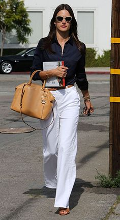 Alessandra Ambrosio Leaving a meeting in West Hollywood, CA (May 13, 2015), wearing a MICHAEL Michael Kors Riley Small Satchel bag and  J Brand Ella Flare Jeans. #alessandraambrosio #style