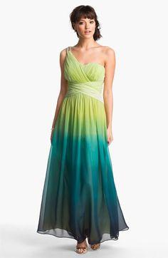 Calvin Klein One Shoulder Ombré Chiffon Gown | Nordstrom