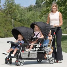 Joovy - Big Caboose Stand-On Triple Stroller, Black, (walmart $304). A bus for my 3 babies.