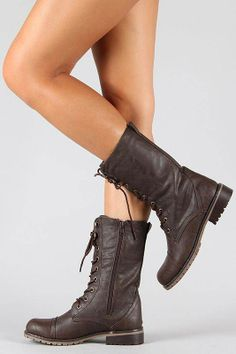 #Military Lace Up Mid-Calf Boot