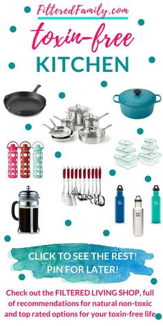 All natural kitchen. Detoxify your kitchen with safer cookware, containers, and more. See all the recommendations at the Filtered Living Shop. Non Toxic Cookware, Safest Cookware, Organic Living, Natural Living, Detox Your Home, Natural Lifestyle, Organic Lifestyle, Healthy Lifestyle, Green Living Tips