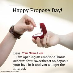 A new and romantic way to wish Propose Day to the loved one. Get Happy Propose Day messages with name of your love. Make feel them extra special. Try it, You will love it. Propose Day Messages, Happy Propose Day Quotes, Propose Day Wishes, Happy Propose Day Image, Propose Day Images, Romantic Ways To Propose, Boyfriend Names, Best Proposals