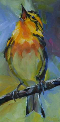 """""""Big Little Bird"""" by Beth Charles: Puff up, proud, and beautiful. This little bird is bigger than big in his mind's eye. Original oil painting by Beth Charles Paintings I Love, Animal Paintings, Watercolor Bird, Watercolor Paintings, Bird Painting Acrylic, Bird Drawings, Beautiful Birds, Fine Art Prints, Canvas Art"""