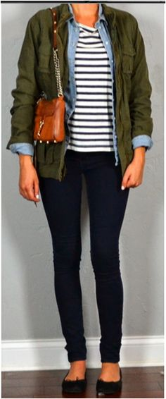 Outfit for a fall day via http://www.outfitposts.com/.  #casual #everyday #outfitideas #militaryjacket #layering
