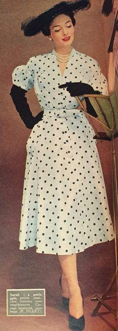 Robert Piguet- 1951 White dress with black polka dots. Elle No. 278- March 26, 1951