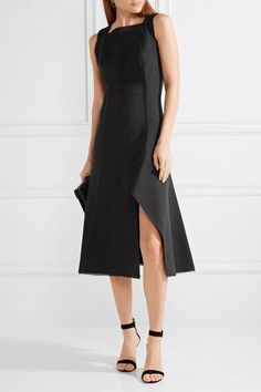 Black stretch-crepe  Concealed hook and zip fastening at back Fabric1: 97% viscose, 3% elastane; fabric2: 100% polyester; trim: 100% rayon; lining: 95% silk, 5% lycra Dry clean