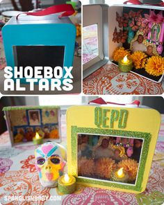 Day of the Dead shoebox altar plus 15 easy Day of the Dead Crafts for kids. Thes… Day of the Dead shoebox altar plus 15 easy Day of the Dead Crafts for kids. These make the perfect art project for kids to learn about Dia de los Muertos. School Projects, Projects For Kids, Crafts For Kids, Diy Crafts, School Ideas, Day Of The Dead Diy, Day Of The Dead Party, Hallowen Ideas, Holiday Day