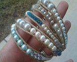 Tiffany blue, crystals, pearls & hemp wrap bracelet