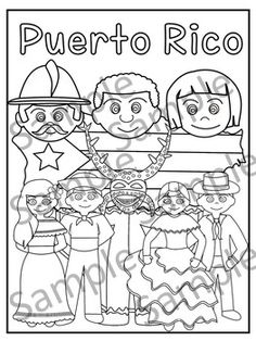 "This is a .pdf file with 12 coloring pages.It include all pages shown on the preview. The images are:%0A1. Puerto Rico cover coloring page%0A2. Flag - La bandera%0A3. Map - el mapa de Puerto Rico%0A4. Flag in map form - bandera con la forma del mapa%0A5. Race - nuestra raza%0A6. Old San Juan ""La garita""%0A7. National flower  ""La maga"" - Flor ""La maga""%0A8. Music instruments - instrumentos musicales%0A9. National dance ""La plena"" dancers%0A10. National dance "" La bomba"" dancers%0A11…"