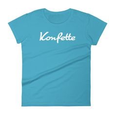 Women's Konfette Logo T-Shirt in Caribbean Blue by Konfette Clothing - Limited Edition designer T-Shirts.