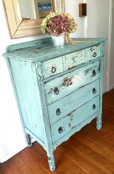 D.D.'s Cottage and Design: Chippy Milk painted Dresser. I love this beautiful custom color.