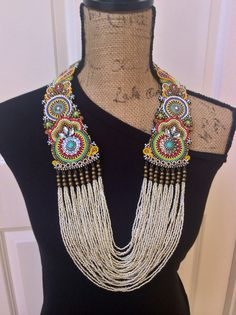 Beaded Necklace, Statement Necklace, Tribal Necklace, Boho Necklace, Beadwork,  Custom Order - please allow  1 week for completion