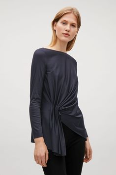 COS image 2 of Top with front drape detail in Blue Reddish Dark