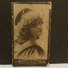 "Mayo's I.C. Cut Plug Tobacco Actress Card Isabelle Irving 2 1/2""x 1 1/2"" Photo"