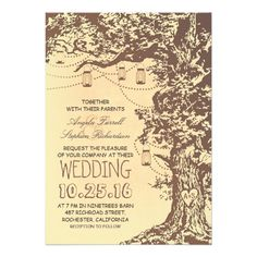 Rustic tree and mason jars wedding invitations