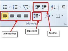 Desde la barra de herramientas de formato, situada debajo de la barra de menús, nos encontramos con todos estos iconos, que de una manera más rápida, nos permiten modificar la apariencia del párrafo: alineación, separación entre líneas, sangrías, ...