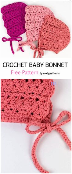 Crochet Baby Bonnet, Baby Girl Crochet, Crochet Baby Clothes, Love Crochet, Baby Blanket Crochet, Diy Crochet, Crochet Crafts, Crochet Projects, Crochet Hats For Babies