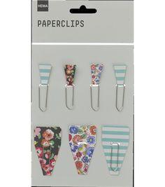 HEMA stationery - Set van 7 paperclips met bloem en streepdessin.
