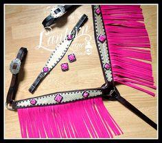 Platinum croc breast collar w/bubblegum pink fringe, custom order.