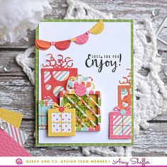 Gallery Pretty Presents Kit - Queen & Co Handmade Birthday Cards, Happy Birthday Cards, Greeting Cards Handmade, Birthday Crafts, Tarjetas Pop Up, Bday Cards, Shaker Cards, Scrapbook Cards, Scrapbooking