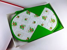 Vintage Placemats And Napkins Set Green Strawberry Polka Dotted Fabric Oval Table Setting Retro Spring Kitchen Kitchenwares Set Of 4 NIB - pinned by pin4etsy.com