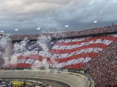 A human American flag, made up of NASCAR fans !!!!