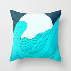 Check out society6curated.com for more! @society6 #illustration #home #decor #homedecor #interior #design #interiordesign #buy #shop #shopping #sale #apartment #apartmentgoals #sophomore #year #house #fun #cool #unique #gift #giftidea #idea #pillows #drawing #blue #waves #wave #ocean #water #sea #moon #sky