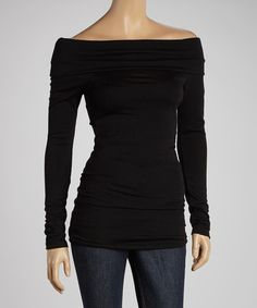 Another great find on #zulily! Black Off-Shoulder Top - Women by J-MODE #zulilyfinds