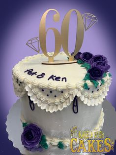 "Some of the most beautiful cakes come with some of the most beautiful reviews ""Hey Sherri, I just wanted to say Thank You for the beautiful anniversary cake you made for my parents. It was absolutely perfect! The cake was moist and delicious, the icing and filling were very tasty but not too sweet and the decoration was beautiful, right down to the 2 tone purple roses and a touch of sparkle. The ""60"" cake topper was the finishing touch and it already sits in my Mom's china cabinet. I will… 60th Anniversary Cakes, Theme Cakes, Purple Roses, Make A Wish, Custom Cakes, Beautiful Cakes, Yummy Cakes, How To Make Cake, China Cabinet"