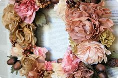 autumn coffee filter flower wreath with acorns and berries