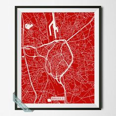 BRUGES, BELGIUM STREET MAP PRINT by Voca Prints! Modern street map art poster with 42 color choices. Perfect for anyone who loves to travel or is away from home.