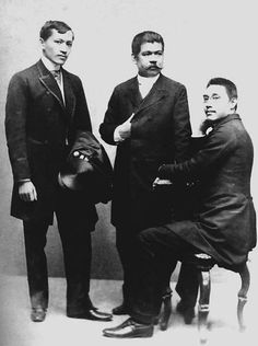 José Rizal, Marcelo del Pilar, and Mariano Ponce: leaders of the Propaganda Movement Philippines Culture, Manila Philippines, Philippines People, Traditional Filipino Tattoo, University Of Santo Tomas, Jose Rizal, Filipino Fashion, Tattoo Son, Noli Me Tangere