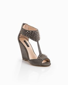 I like the subtlety of the grey with the studs and t-strap and wedge