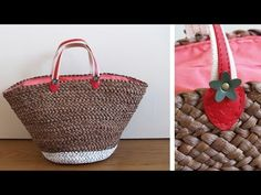 DIY customiza un cesto de playa / cómo cambiar las asas de un bolso - YouTube Summer Bags, Summer Diy, T Shirt Yarn, Cute Bags, Straw Bag, Knit Crochet, Basket, Handbags, How To Make