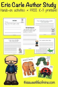 Here's a fun collection of hands-on activities and a FREE 28-page printable to facilitate an Eric Carle Author Study with your K-3 readers. | thissweetlifeofmine.com