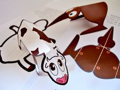 Pop and fold animals. Part of a greeting card design.