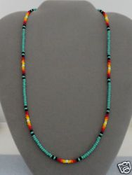 Turquoise Sunburst Beaded Men's, Women's Necklace Native American Made ~ Rita